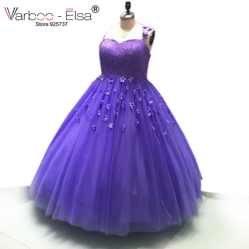 VARBOO_ELSA Plus Size Purple Tulle Ball Gowns Luxury Beading Prom Dress 3D Flower Appliques Spaghetti Strap Evening Dresses 2018
