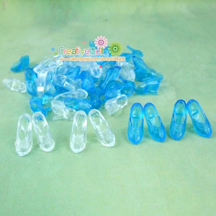 10 Pairs Imitation Fairy Story Crystal Footwear For CINDERELLA Trend Princess Doll Footwear Heels Sandals For Barbie Dolls