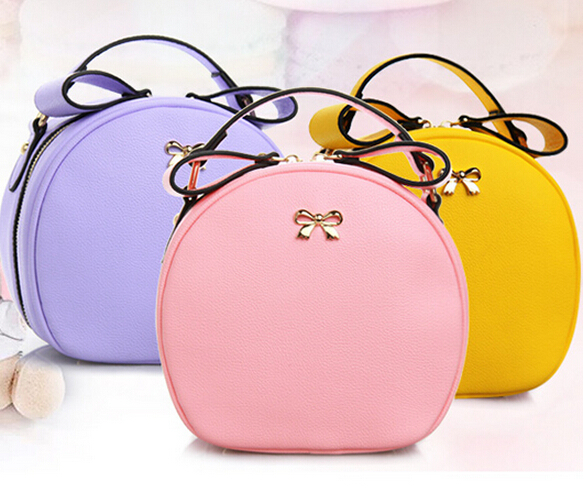 2015 women handbag pu leather candy color chain bag messenger one shoulder cross-body round bow - fashional accessories store