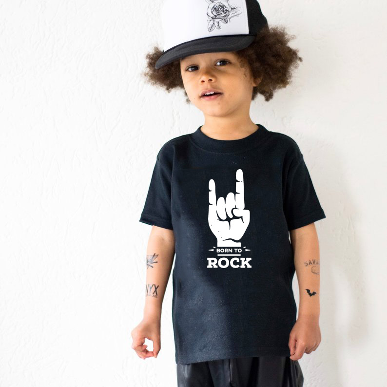T-Shirt Boys Tops Short-Sleeve Graphic Rock Kids Girls Baby Fashion Children Summer Born