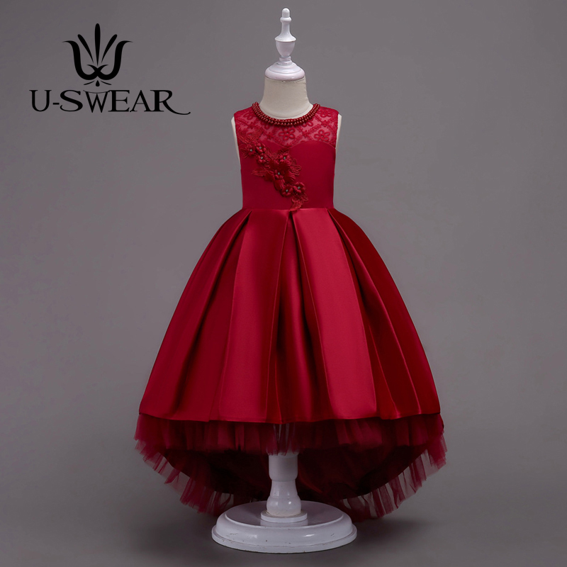 U-SWEAR 2019 New Arrival Kid   Flower     Girl     Dresses   Beaded Pearl O-Neck   Flower   Appliqued Princess Sleeveless   Flower     Girls   Mermaid