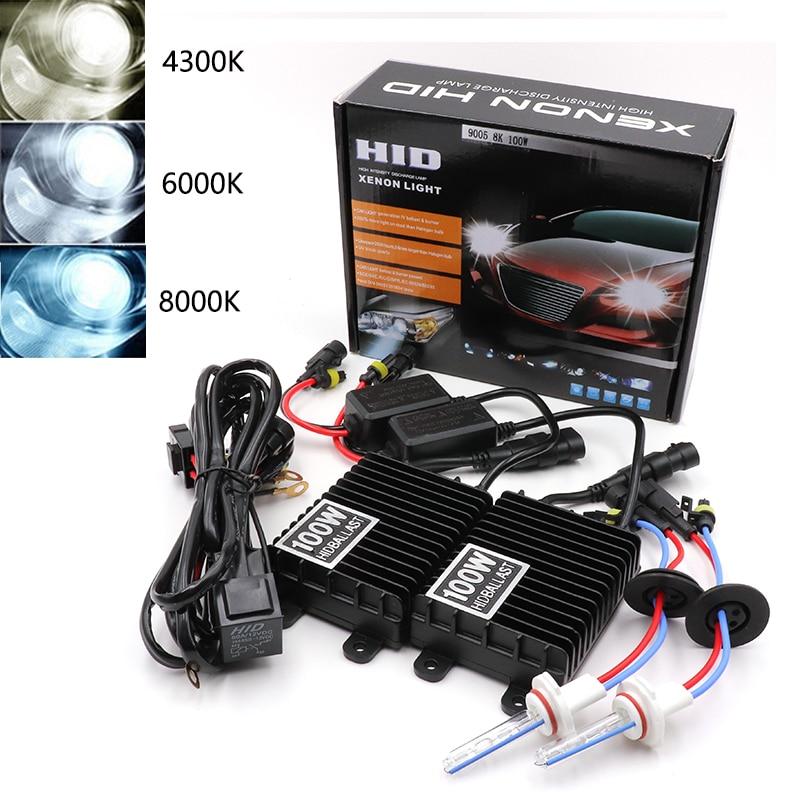 Niscarda H1 H3 H4 H11 9006 75 W 100 W Ballast HID Kit xénon 4300 K 6000 K 8000 K 12 V phare de voiture 9005 9006