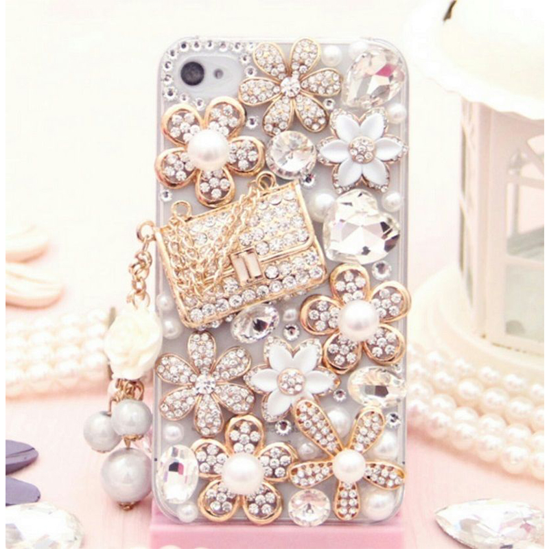Luxury Jewelled Pearls Diamond Rhinestone Phone Cases for iPhone for Samsung S5 S6 S7 Edge Plus Note 4 5 7 Hard Case Back Cover