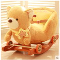 Kingtoy Plush Baby Rocking Bear Chair Children Wood Swing Seat Kids Outdoor Ride on Stroller Toy