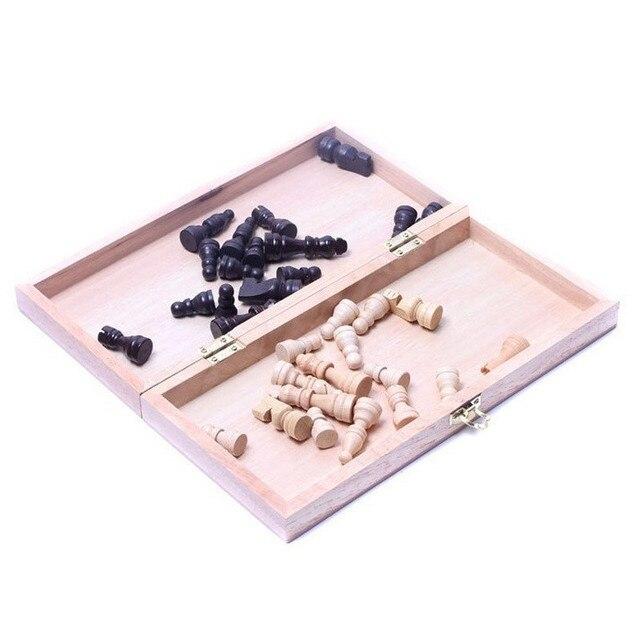 Jeu d'échecs pliable en bois avec Collection de pièces 3