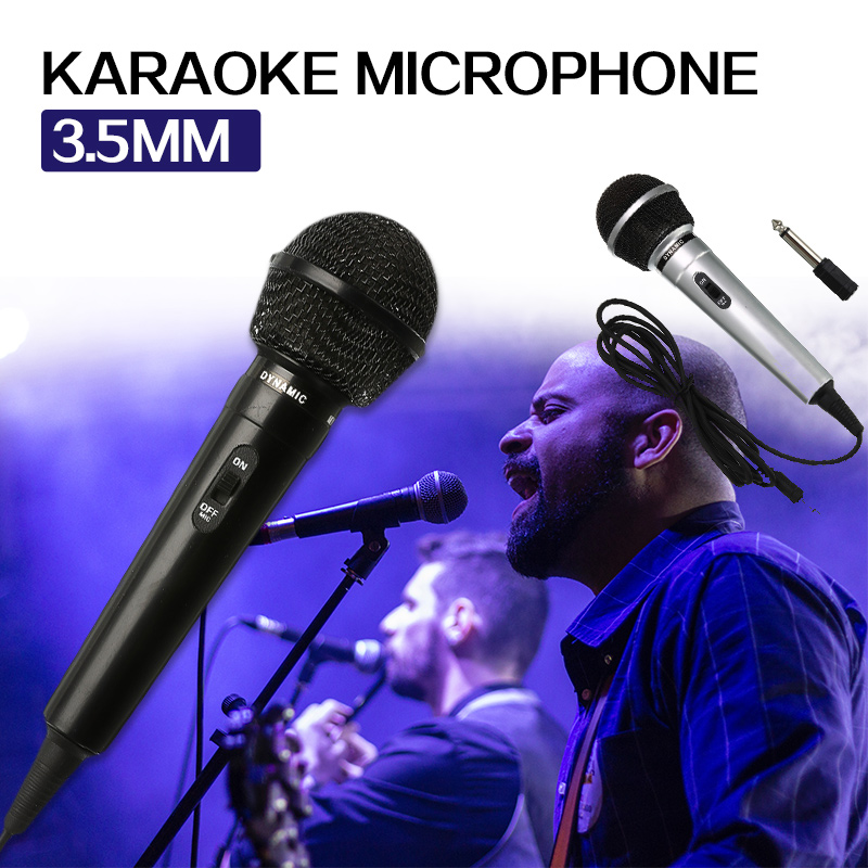 3.5mm + 6.35mm Stage Handheld Wired Microphone Universal Performance Public Transmitter Recording For Karaoke DJ Black Silver