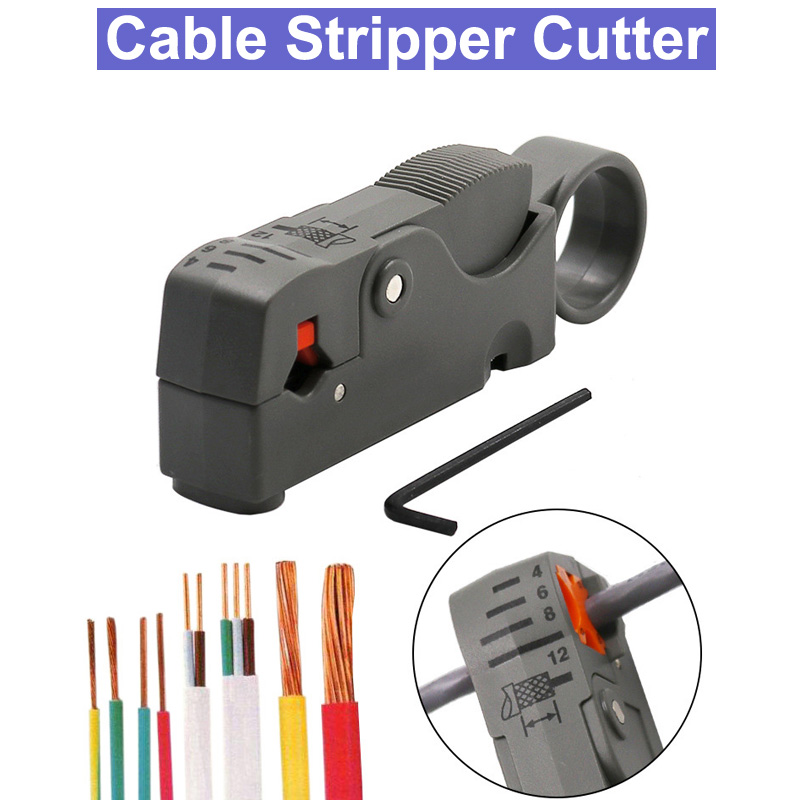 Coaxial Household Multi Tool Cable Stripper Cutter Adjustable Double Blades RG6/59 Wire Stripper Automatic Cable Cutter Pliers