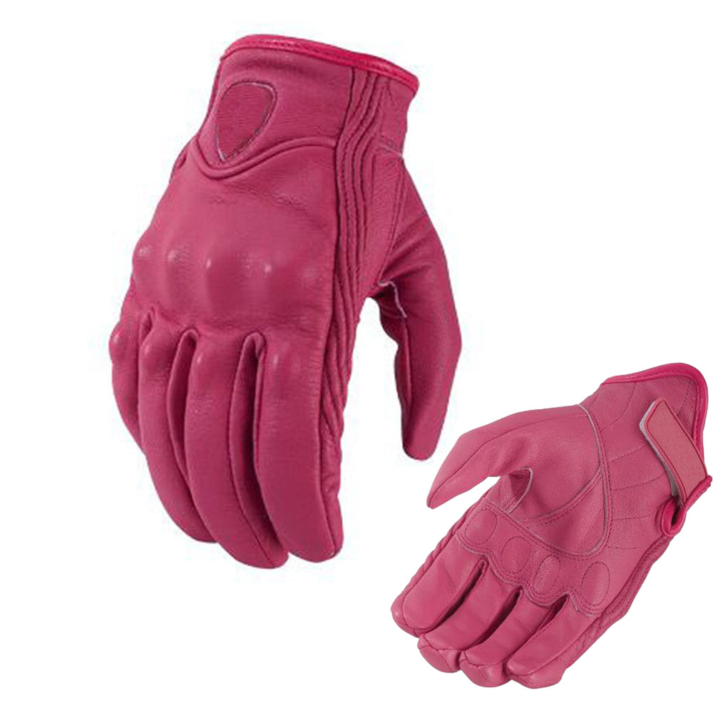 Womens pink leather motorcycle gloves - Brand New Real Leather Full Finger Women Motorcycle Gloves Motorbike Protective Gears Moto Street Racing Glove