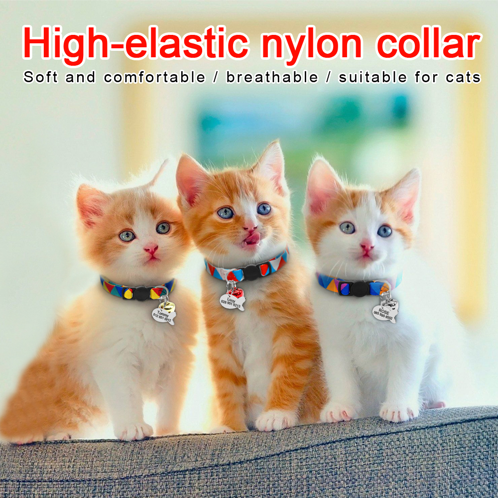 Personalized Cat Puppy Collar Quick Release Nylon Kitten Puppy Engraved Collars Safety For Small Cats Dog Free ID Tag With Bell