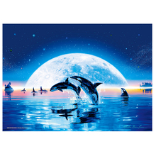 DIY diamond painting sea dolphin moon embroidery dolphine play Mosaic fish cross stitch word decor