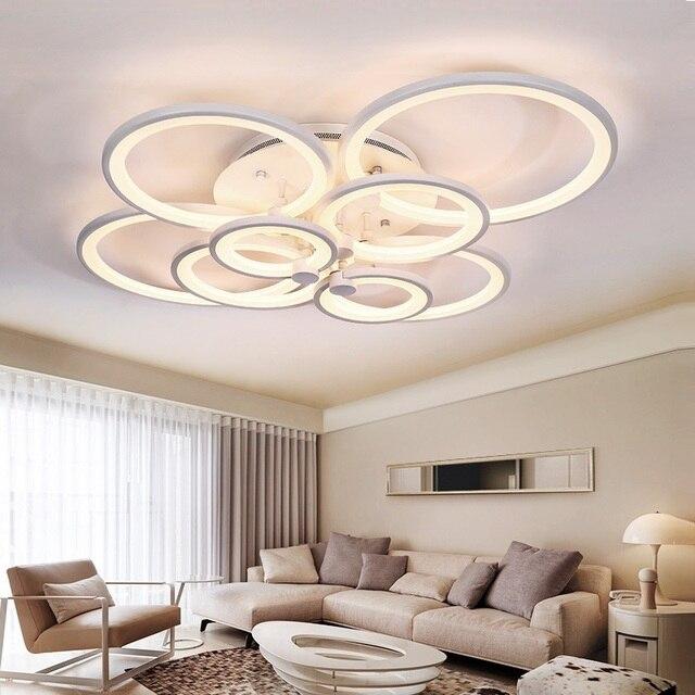 Led Ceiling Lights For Living Room Rings Acrylic Modern  Bedroom Surface Mounted Led Ceiling Lighting Fixtures AC110V 220V