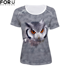FORUDESIGNS 3D Animal t shirt Women O Neck Clothing for Summer Grey T Kawaii Stranger Things Tops Vogue XXL