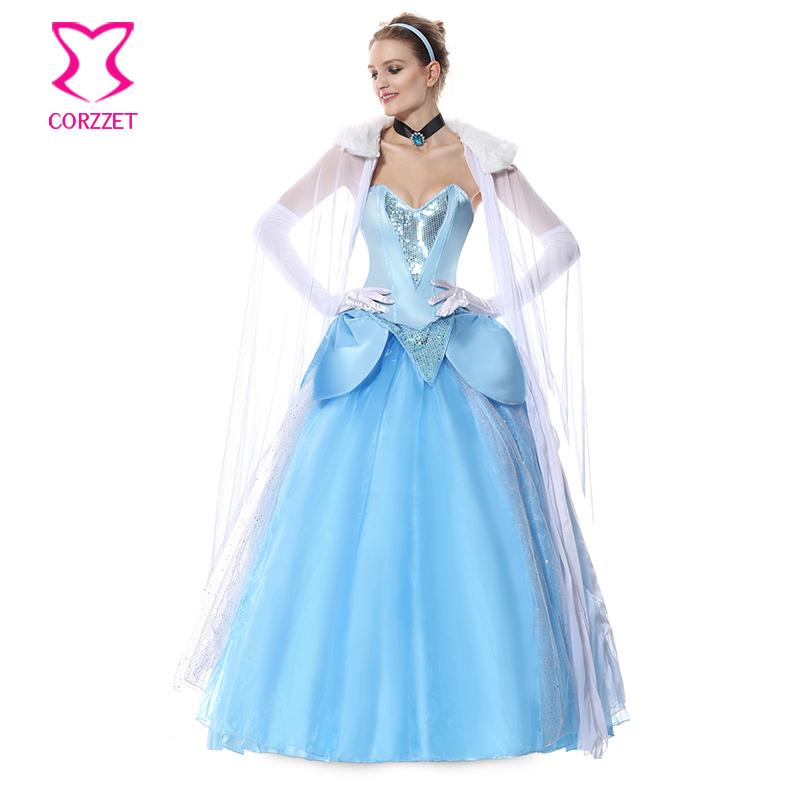 Blue Long Ball Gown Cinderella Cosplay Costume set adults Deluxe Halloween Satin princess fancy dress Carnival Party costumes