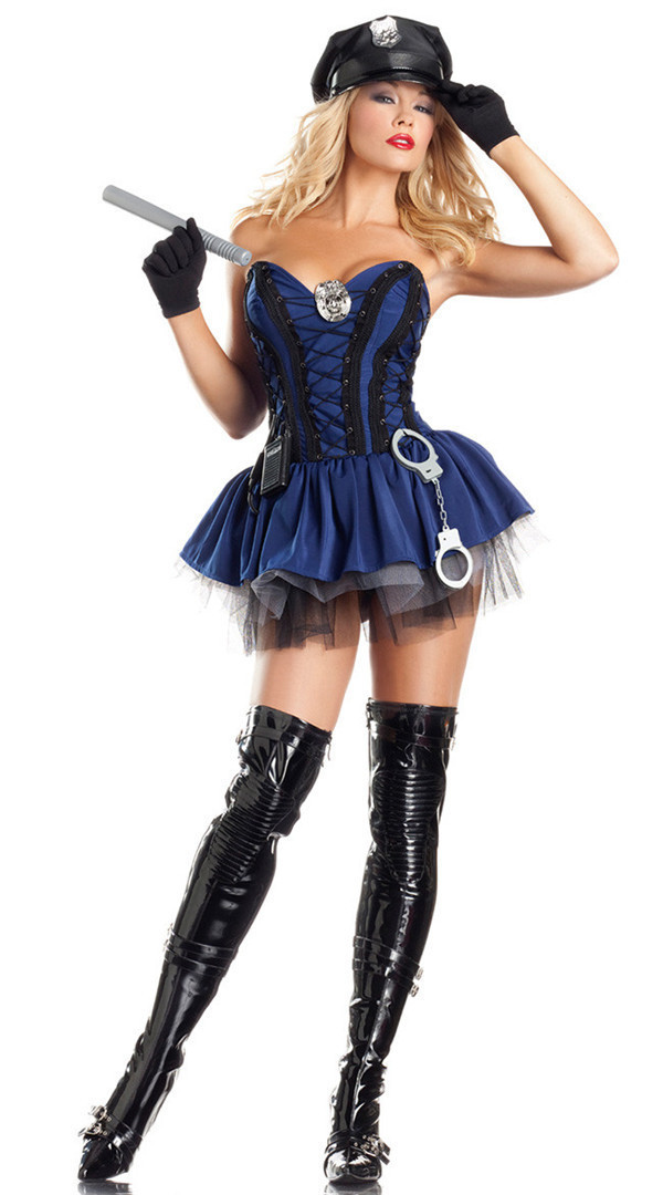 Fashion Sergeant Stunner Halloween Costume Adult Sexy Police Fancy Dress M size dress + hat gloves + Toy batons + toy handcuffs
