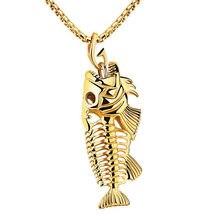 Espina de pescado y la Pesca Gancho Collares Pendientes Punkyes Del Estilo de Los Hombres de Acero 316L del Acoplamiento de Cadena 3 Colores de La Joyería de La Personalidad