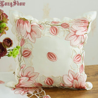 Free Shipping 1Pcs Luxury Pink/Yellow Colour Tulip Pattern 43x43cm Square Embroidered Handmade Cutwork Satin Pillow Case Pillow Case     -