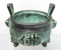 Chinese bronze pot Incense Burners Dragon head Buddha Ming Dynasty old