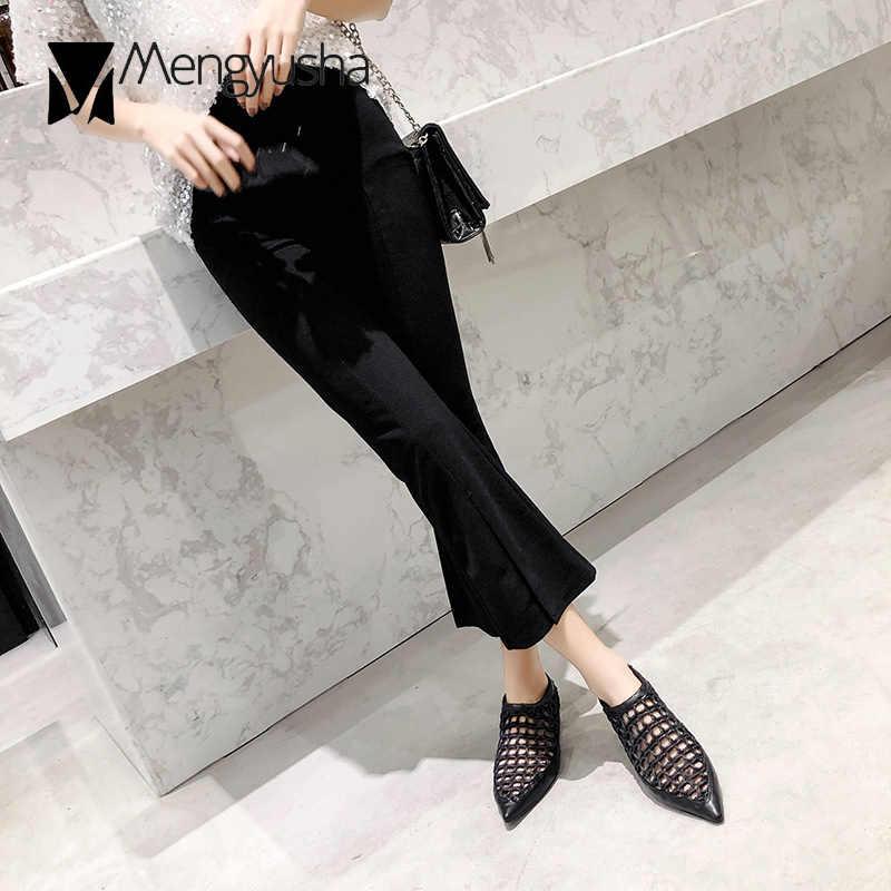 Zwart/wit knipsel touw sandalen vrouwen wees teen platte zomer schoenen ademend mesh espadrilles sandalias vrouwen hollow mulesc618