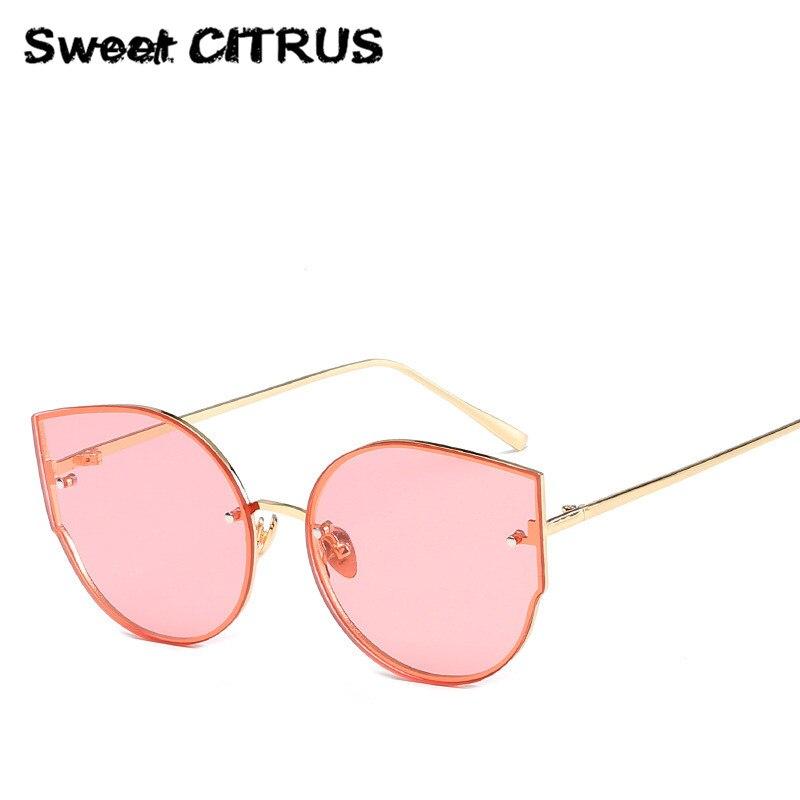 Sweet CITRUS 2017 New Arrival Women Classic Brand Designer Cat Eye Sunglasses Rimless Metal Frame Sun