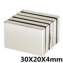 5 шт. 30x20x4 мм неодимовый магнит Блок N35 постоянный супер сильный Мощный маленький Магнитный Магнит квадратный