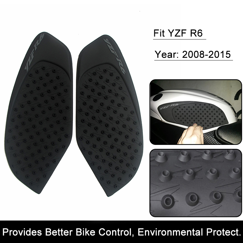 For Yamaha R6 2008 2009 2010 2011 2012 2013 2014 2015 Motorcycle Anti slip Tank Pad 3M Side Gas Knee Grip Traction Pads Protector Sticker (2)