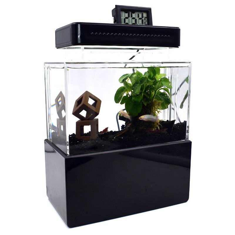 Mini réservoir de poisson en plastique Portable Aquarium de bureau bol de poisson Betta avec Filtration de l'eau LED et pompe à Air calme pour la décoration - 5