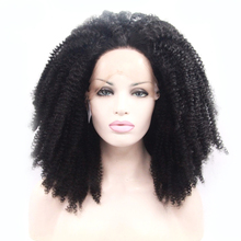 Glueless Short Curl Wig for Black Women 150%Density Synthetic Kinky Curly Front Lace Wigs Japanese Heat Resistant Fiber Hair