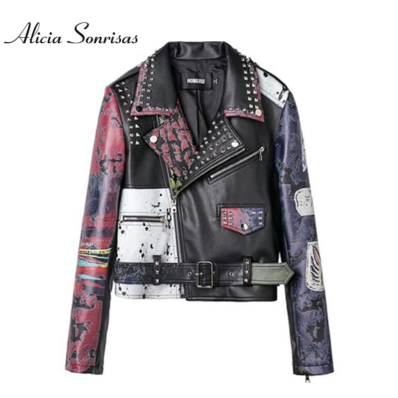 Asymettry Graffiti Leather Jacket Women New 2018 Autumn Printing PU Motorcycle Rivets Leather Jacket Female Biker Coat AS1009