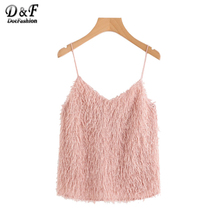 Dotfashion Pink Fringe V Neck Cami Top 2017 New Arrival Autumn Spaghetti Strap Woman Clothes Cute Plain Camisole