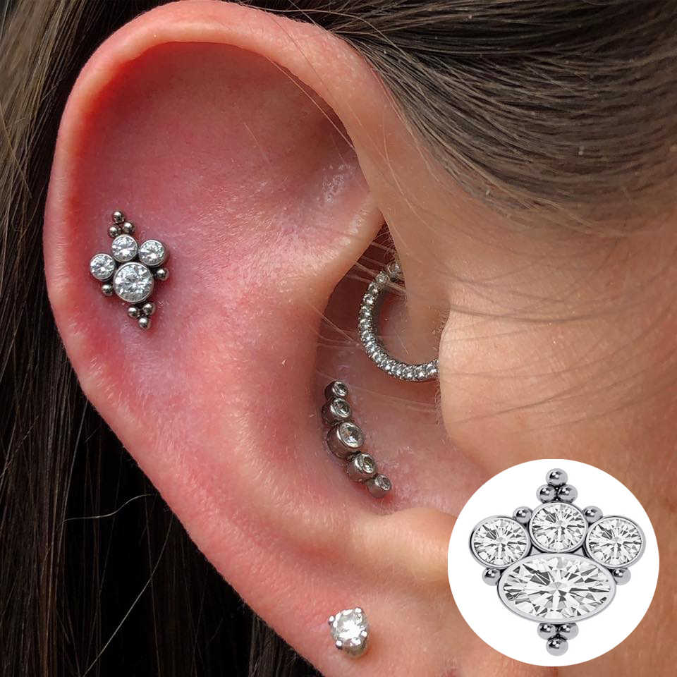 Newest 16G Cluster round CZ Crystal stainless steel screw flat back tragus cartilage/helix/conch piercing