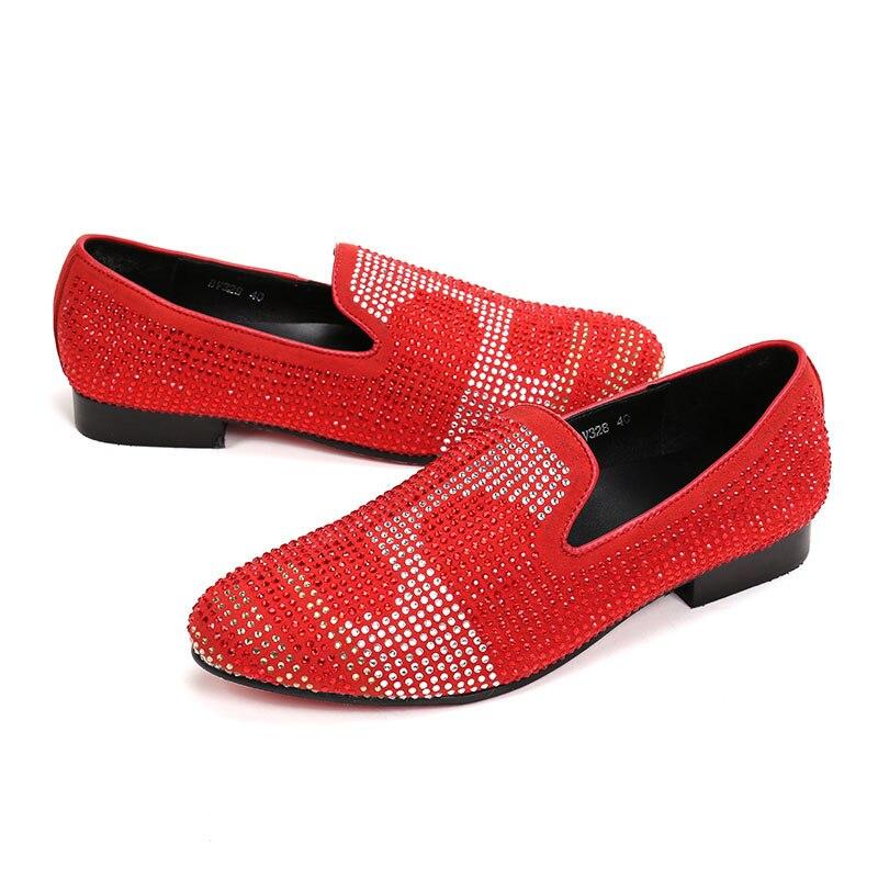 Ntparker 46 Mode Classique noir Véritable rouge Rouge Les De Robe Italien Mens Taille Glissement Cuir Mocassins Bal Chaussures Hommes Noir En LuxeGrande Sur m8Nwyv0POn