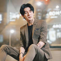2019 casual trend handsome new suit male Korean version of the self cultivation solid color summer sleeves suit + pants