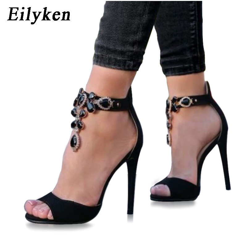 Eilyken 2018 New Summer Gladiador Sandalias Black Crystal Chain Sexy Cover Heel  Peep Toe Sandals For Women size 35-42 7e77c2e6340c