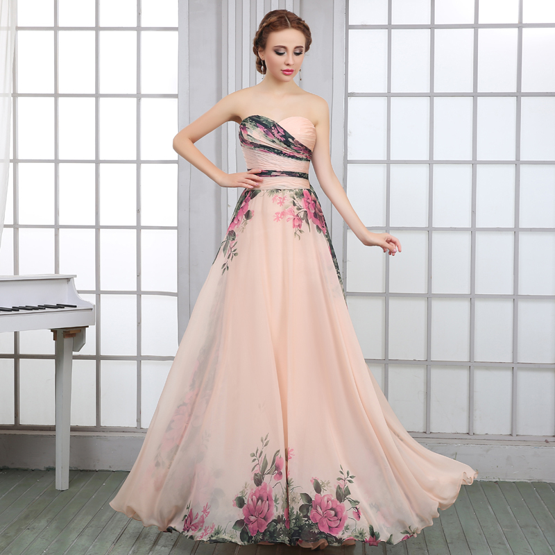 hot selling Charming classical elegant flower pattern A line chiffon ...