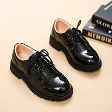Детская кожаная обувь для мальчиков и подростков, для начальной школы, черная, для выступлений, дышащая, мягкая подошва, Цветочная обувь для девочек, для детей