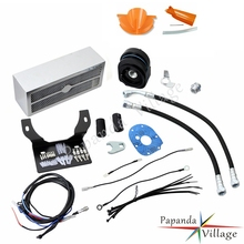 Papanda Chrome Motorbike Reefer Complete Oil Cooler Assembly Fan Motorcycle Cooling System for Harley Touring 1999-2008