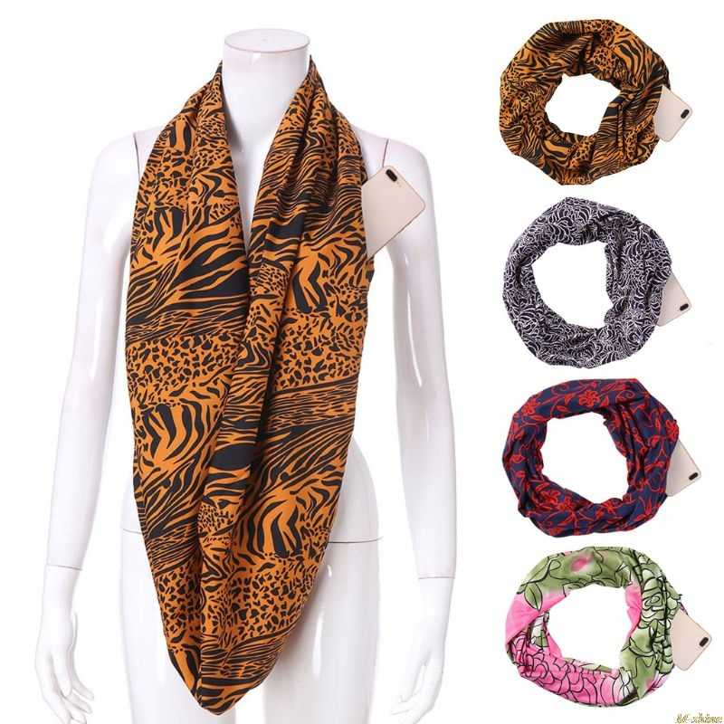 0ff55677d5302 Womens Cotton Thin Double Layer Secret Hidden Zipper Pocket Infinity Loop  Scarf Zebra Leopard Lotus Printed