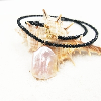Lii Ji Gemstone Natural Blask Spinel,Pink Baroque Pearl 925 Sterling Silver Gold Plated Clasp Choker Necklace