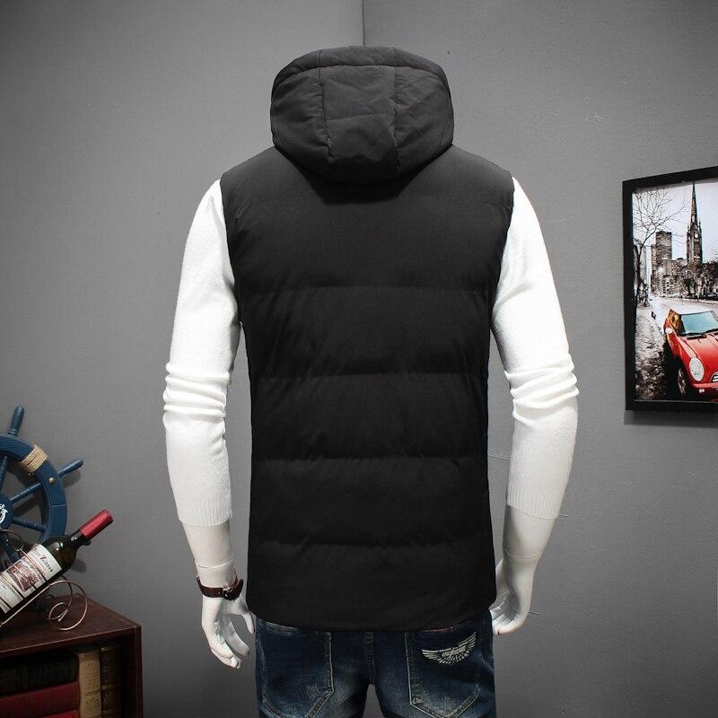 Grande taille 8XL 6XL 5XL 4XL 2018 nouveau élégant automne hiver gilet hommes de haute qualité capuche chaude sans manches veste gilet hommes - 5