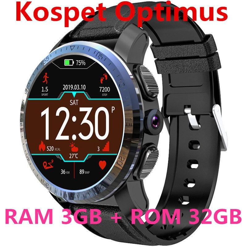 KOSPET Optimus Pro 3GB 32GB 800mAh Battery Dual Systems 4G Smart Watch Phone waterproof 8.0MP 1.39 Android7.1.1 smartwatch men