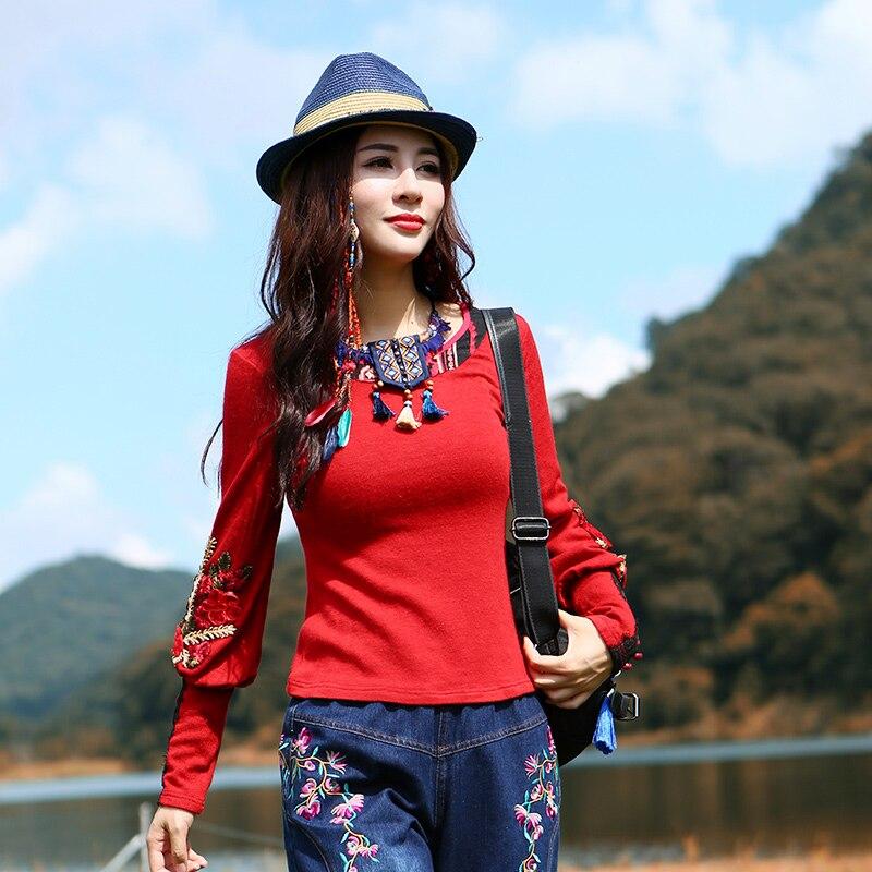 T Broderie Femmes shirts M Chinois Automne Nouveau T Printemps Mode Gratuite Manches Style Long Rouge Lanterne 2018 Et Pour Tops 2xl Livraison shirt gP4qFRIZW