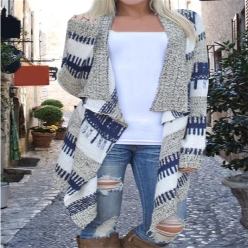 2016 Fashion Irregular Long Sleeved Sweater Cardigan Women Warm Knit Cardigan Feminino