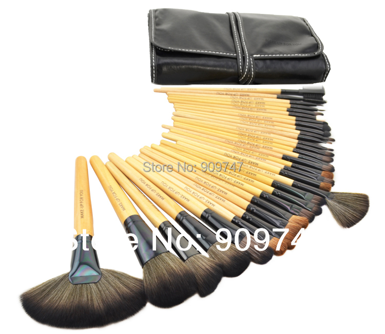 2014 HOT, Professional 32 pcs Cosmetic Make Up Brush Sets tools  Makeup Brush Set tools Makeup Toiletry Kit tools free shipping hot msq new product single foundation black synthetic makeup brush big wood handle cosmetic make up kit free shipping
