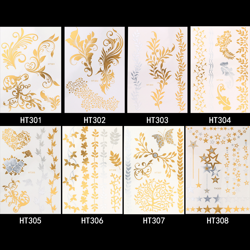 1 Sheet 8 Designs Gold Silver Flash Metallic Temporary Tattoo Sticker 1