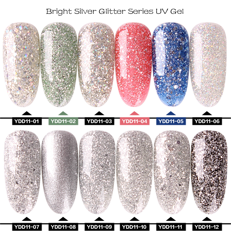 Yiday High Quality Bling Sequins Glitter Silver Champagne Gold UV Gel Nail Polish Varnish Soak Off Lacquer DIY Nail Art Manicure in Nail Gel from Beauty Health