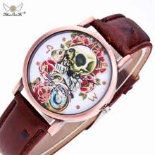 Zhoulianfa 2017 Fashion Women Leather Sport Skull watch WristWatch Female Quartz-watch women Clock Ladies Dress Wrist Watches
