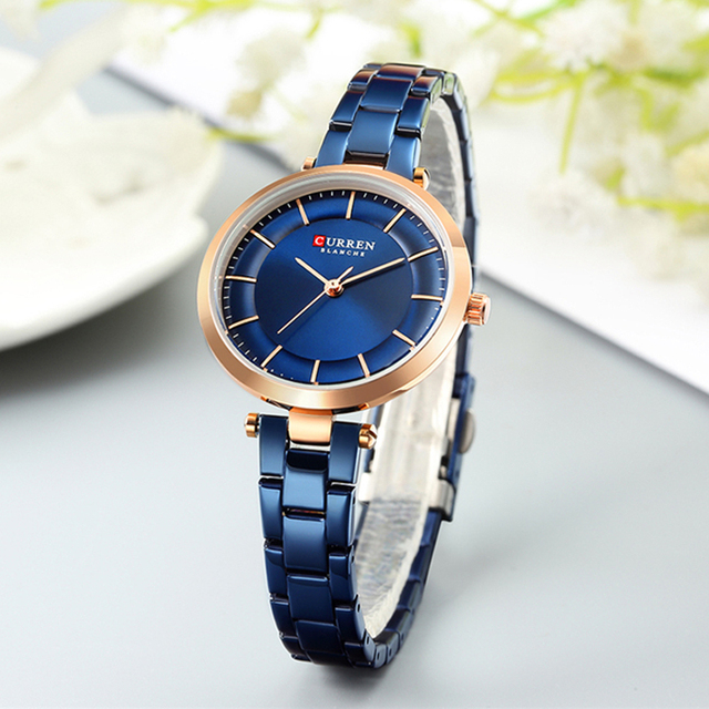 CURREN Women Watches Luxury Metal Bracelet Wristwatch Classy Fashion Quartz Clock Blue Female Stainless Steel Dress Watch Accessories Jewellery & Watches