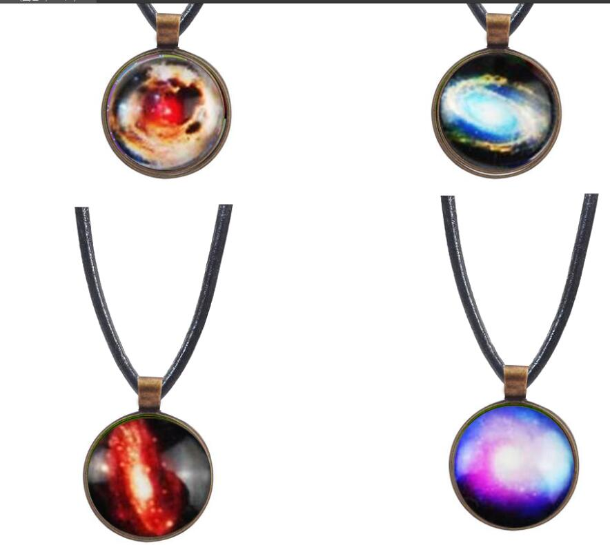 2017 New Retro Planet Crystal Star Glass Galaxy Pattern Leather Chain Pendant Biggest Necklace Glass Galaxy Star Necklace