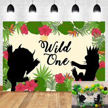 NeoBack Wild One Backdrop Animal Shadow 1th Birthday Party Background Photography Cirld Kids Bannner Backdrops