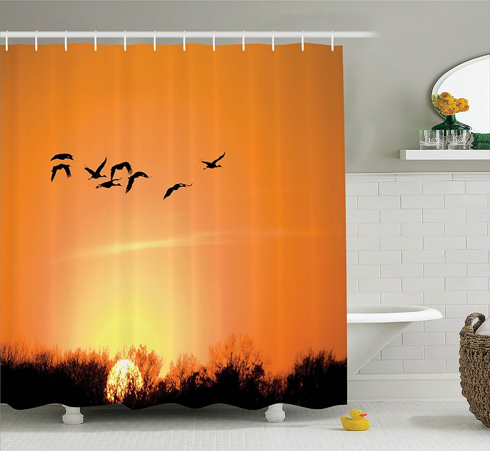 Shower Curtain Beautiful Bird Migration Over Desert View At Sunset Printing  Waterproof Mildewproof Polyester Fabric Bath Curtain